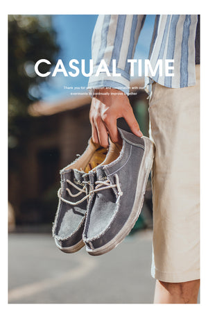 Men's Fashion Canvas Hand Stitching Breathable Casual Shoes