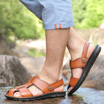 Big Size Men's Summer British Fashion Leather Sandals