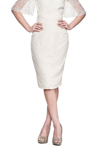 The Katherine White High Waisted Pencil Skirt