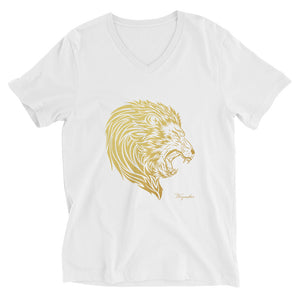 Unisex Short Sleeve ( regular fit ) Signature Lion Head V-Neck T-Shirt - righteous-and-dope