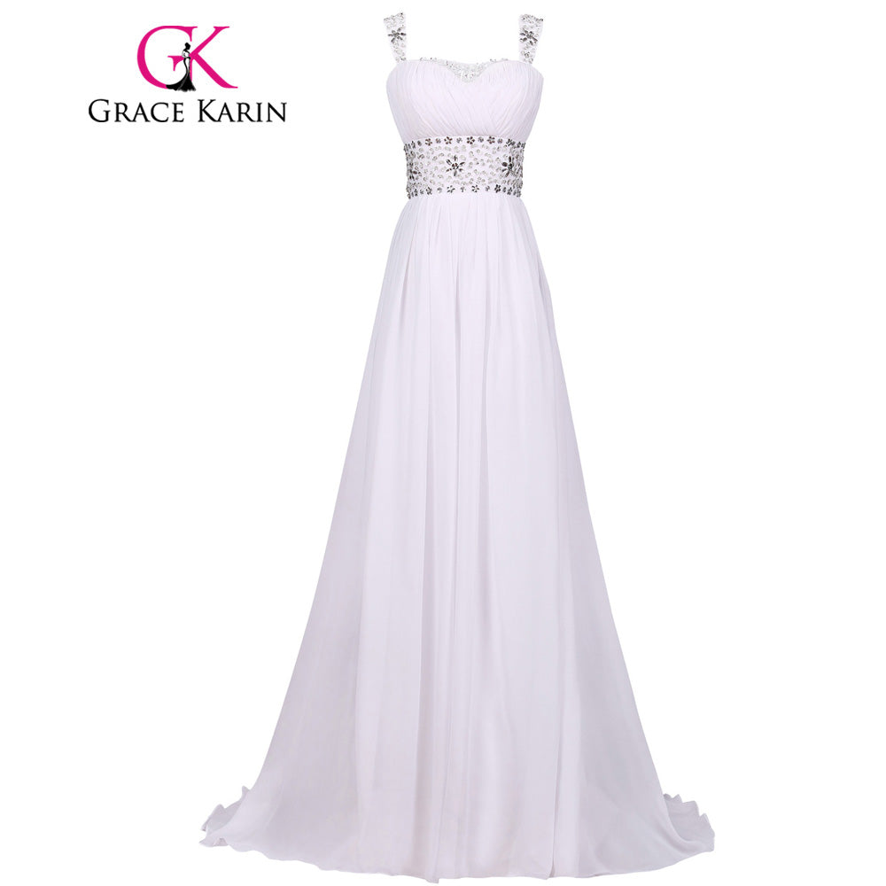 Grace Karin Wedding Dress Real Photo Floor Length Beach Wedding Dress White Crystal Chiffon Formal Party Bride Bridal Gown