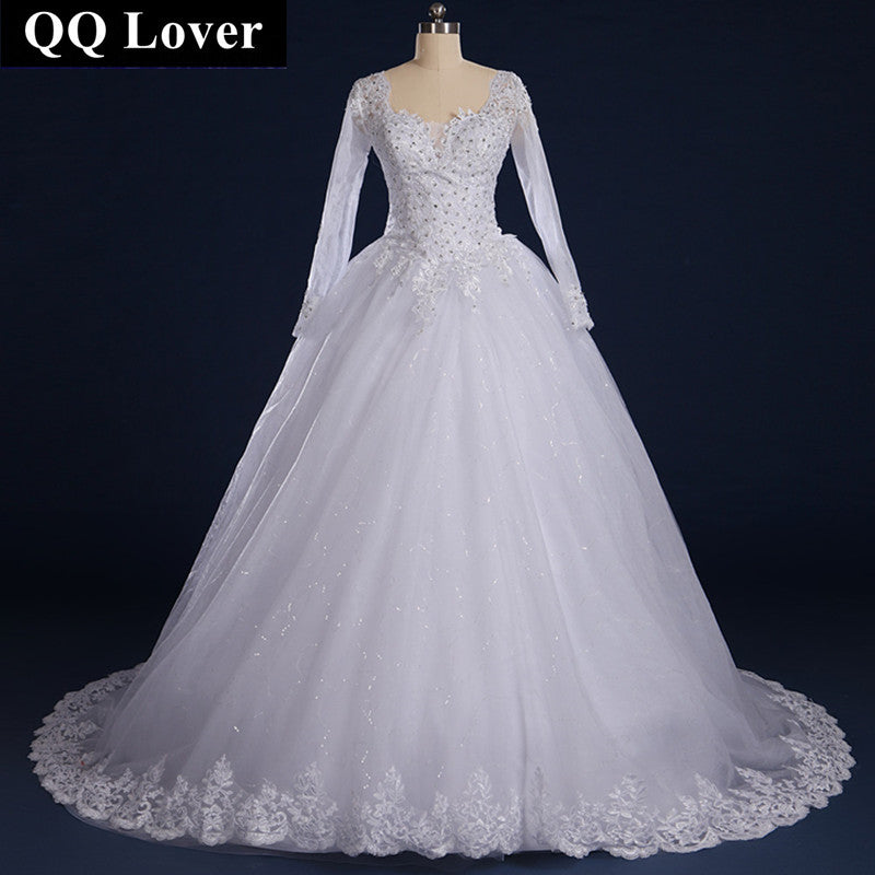 QQ Lover 2017 Sexy V-neck Long Sleeves Wedding Dress With Real Pictures Custom-Made Vestido De Noiva