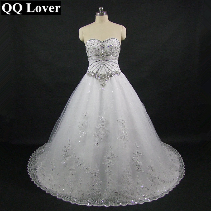 QQ Lover New Luxurious Sparkling Diamond Bling Wedding Dress With Video Luxury Bling Long Trailing Vestido De Noiva
