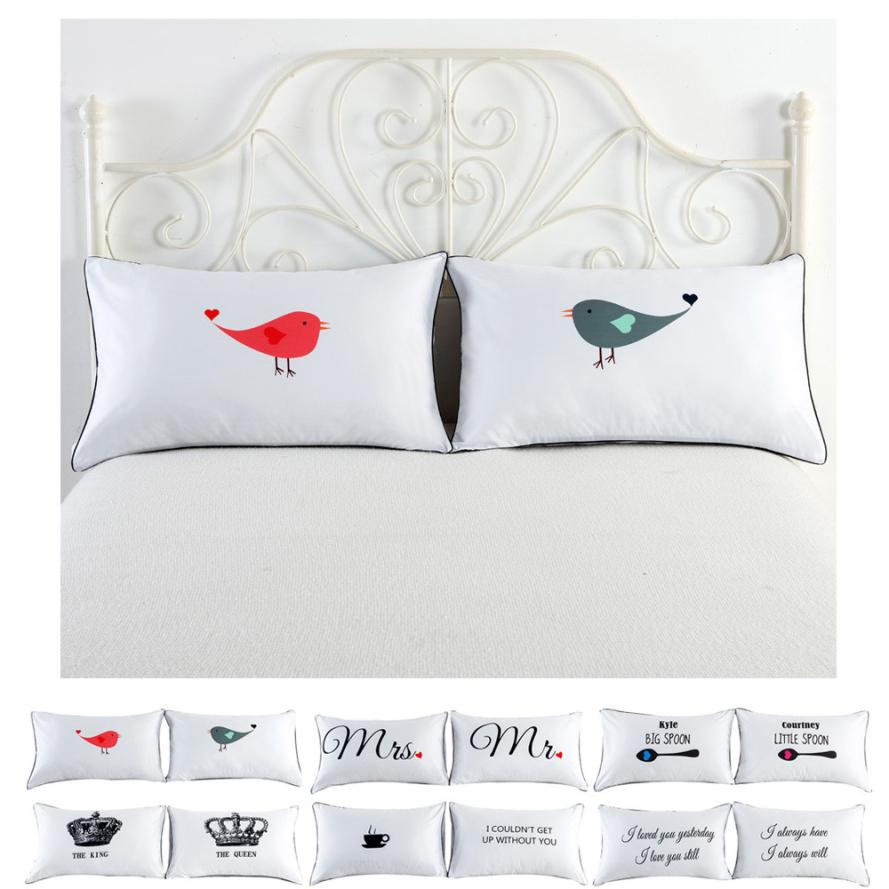 hot sale Set of 2 Couples Pillow Cases Letters Printed Pillowcases Bedding  Wedding Anniversary Romantic Gift car Seat Supports