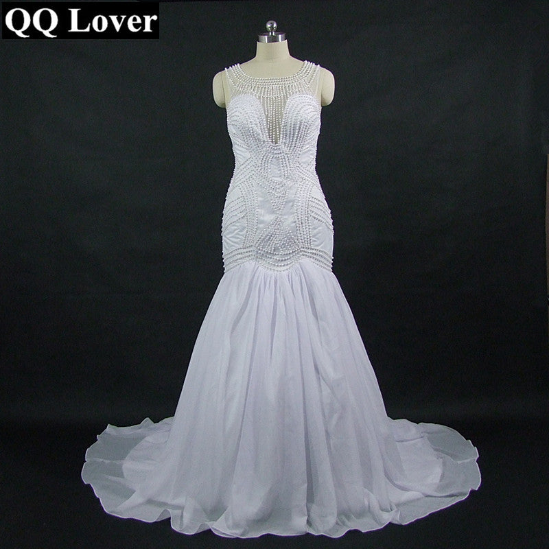 QQ Lover 2018 New Full Beading Mermaid Wedding Dress Custom-Made Plus Size Wedding Gown