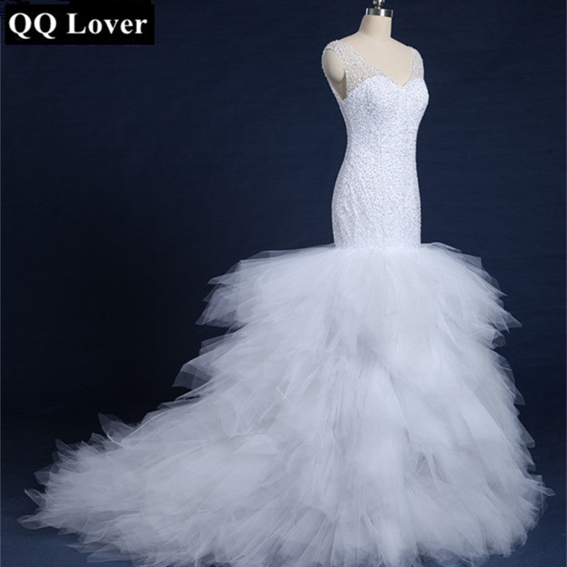 QQ Lover 2018 Newest Designed Full Beading Wedding Dresses 2018 Real Africa Fashion Vestidos De Novia Luxury Sexy Bride Gown