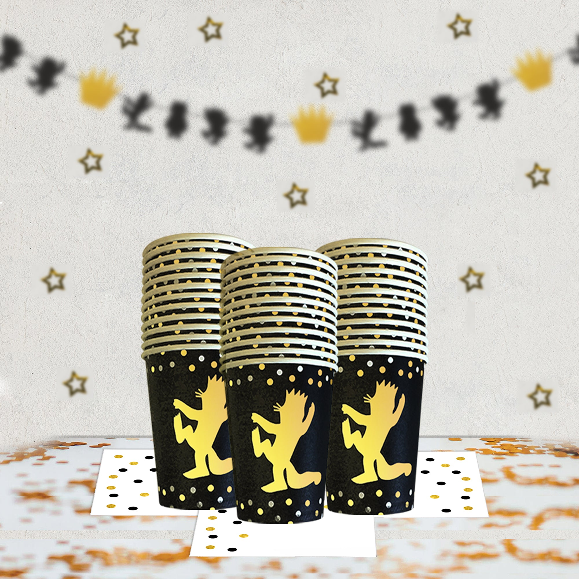 WildOne Complete Party Set. Plates, Cups, Bowl, Napkins, banners, cake toppers | OrangeDolly USA