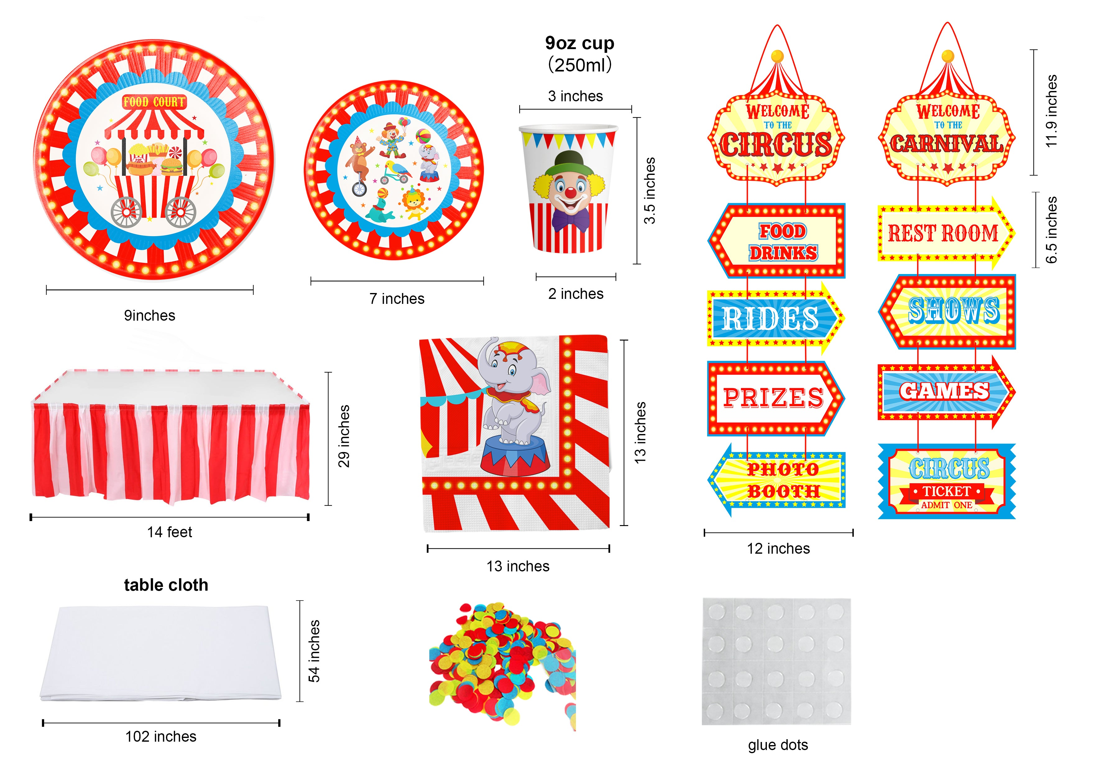 Carnival Circus party theme. plates, banners, cake toppers, invitations, birthday decorations | OrangeDolly USA
