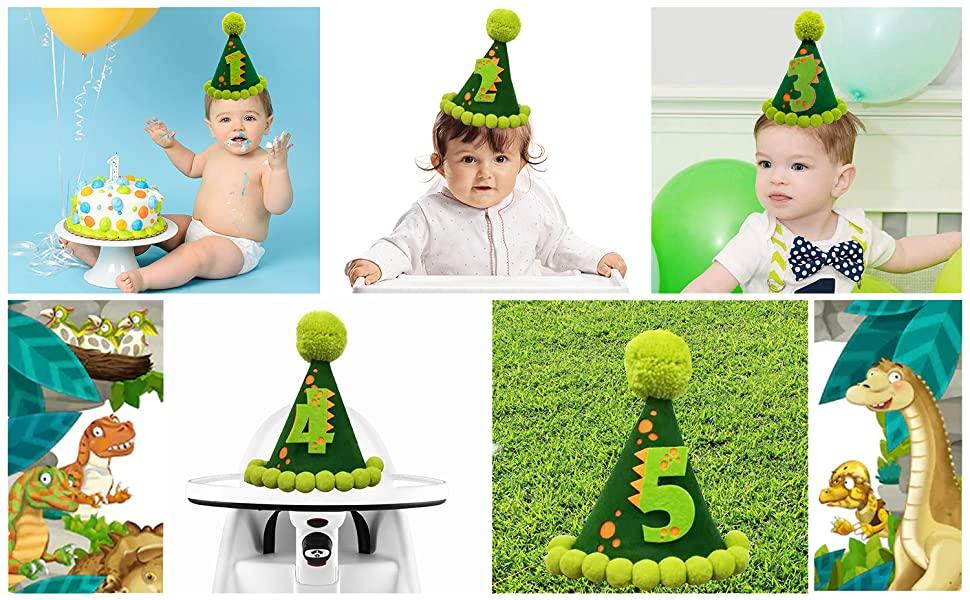 Party Hat. green. pompoms. Dinosaur themed party hat. dino-themed first birthday | OrangeDolly