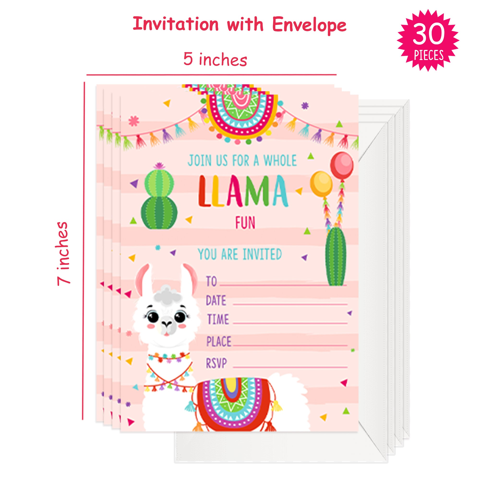 Llama party supplies. Llama birthday decorations. Complete party set. themed party. Plates. cups. banner. invitations. cake topper. props. cake holder. party bags. party hats. max 16 persons | OrangeDolly