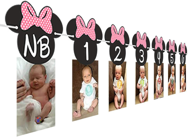 Minnie Mouse 12 month photo Banner[Hot Pink] | Photo Birthday Banner |Minnie mouse clubhouse party
