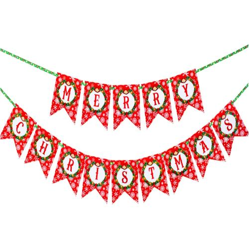 Merry christmas flag banner - snowflake, window, and garland banner