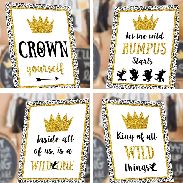 Wild One Party Favors - Party Food Sign - Size 8 X 10 inch, Set of 5 Wild one Themed First Birthday Party Decoration Sig