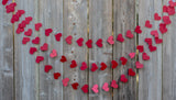 Red heart garland for valentine's day and wedding decoration
