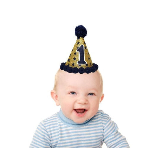 -Twinkle Twinkle Little Star Birthday hat-Cake Smash hat -Navy Blue Star hat