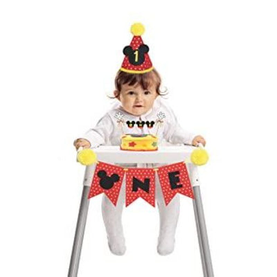 Mickey birthday mini hat, 1st birthday outfit with cake smash outfit