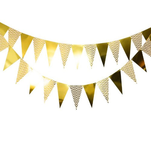 Foil triangle bunting garland decorations for birthday and baby shower
