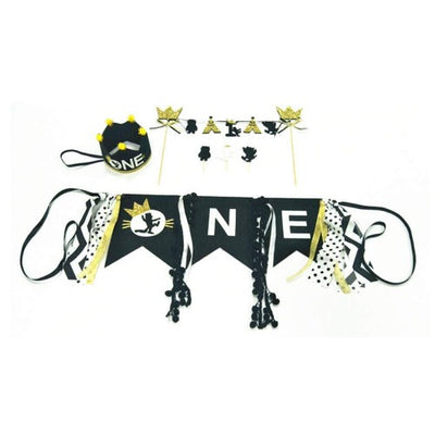 Wild One Décor, Banner, Highchair Banner, 1st Birthday, one Crown + ONE high Chair Banner + Bunting Cake Topper