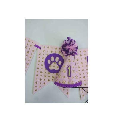 Small Dog First Birthday hat & Let's Pawty Banner- Pink Version