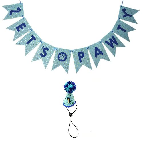 Small Dog First Birthday hat &Let's Pawty Banner- Blue Version