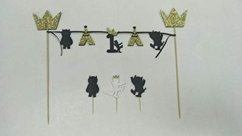 Wild One Decor, One Banner, A Wild One Banner, Wild One Highchair Banner, 1st Birthday, Inspired by Where The Wild Things Arewild one Crown + ONE high Chair Banner + Bunting Cake Topper