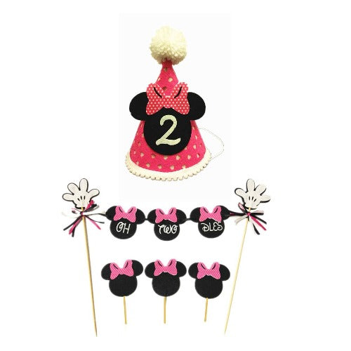 Minnie Pink Second Birthday hat & Oh Two dles Bunting Cake Topper