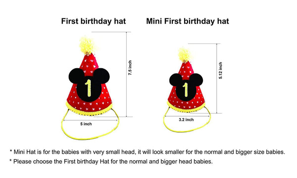 Mickey Birthday Mini Hat 1st Outfit With Cake Smash