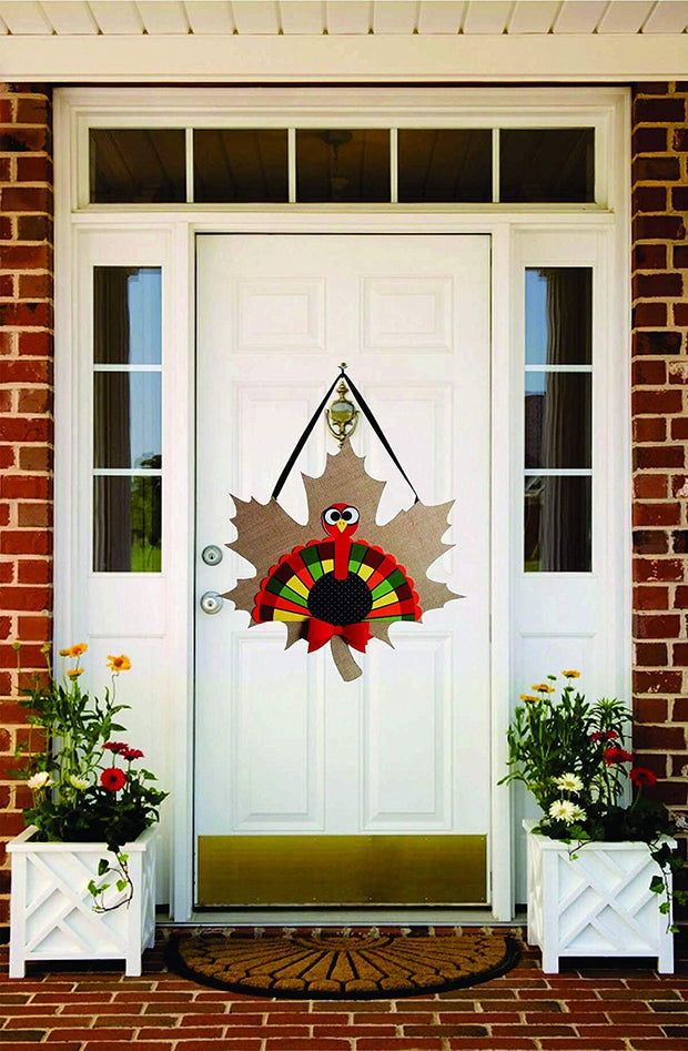 Thanksgiving / Festive Door Decorations - Turkey Burlap Door hanger