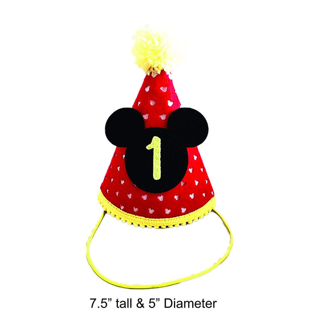 Mickey mouse first birthday party hat with elastic strap