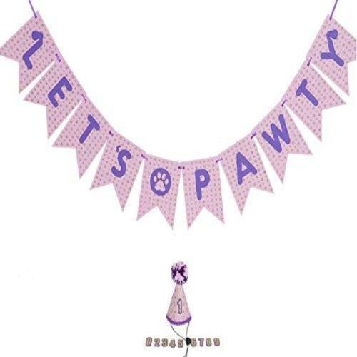 Small Dog Birthday (0-9) hat & Let's Pawty Banner- Dog Party Supplies- Dog Birthday Party- Dog Birthday Banner- Pet Party- Dog Birthday Party- Number 0-9 Pink Hat