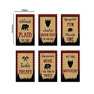 Set of 6 Lumberjack Birthday Sign-Lumberjack Decor -Baby lumberjack-1st Birthday Party boy-Buffalo Check Decorations (Brown)