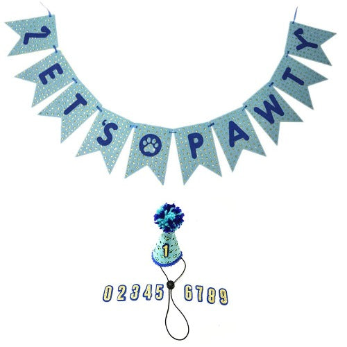 Small Dog Birthday (0-9) hat & Lets pawty Banner-Lets Pawty Banner- Dog Party Supplies- Dog Birthday Party- Dog Birthday Banner- Pet Party- Dog Birthday- Puppy Party- Cat Birthday(0-9 Blue hat)