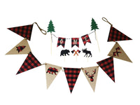 lumberjack, burlap triangle banner + bunting cake topper- Lumberjack Party Decorations - Plaid Party...