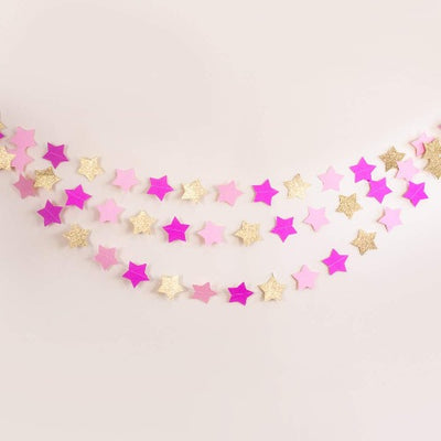 Twinkle Twinkle Little Star Garland for Baby Shower and Birthday Decorations | Pink and Gold Decorations | First Birthday Party Decors | First Birthday Garland (Pink & Gold Glitter)