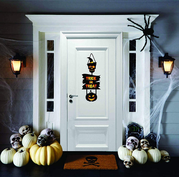 Skull door decoration sign, Halloween skull decor