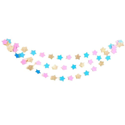 Gender Reveal Twinkle Twinkle Little Star Garland | Cake Smash Banner | Baby Shower Decorations (Blue, Pink & Gold Glitter)
