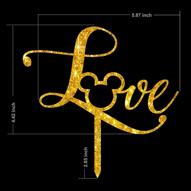 Mickey love cake topper – disney cake topper - glitter gold and mirror gold