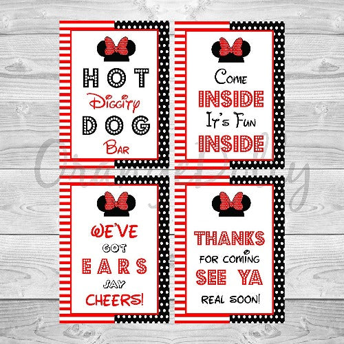 Hot diggity dog minnie mouse inspired party door sign