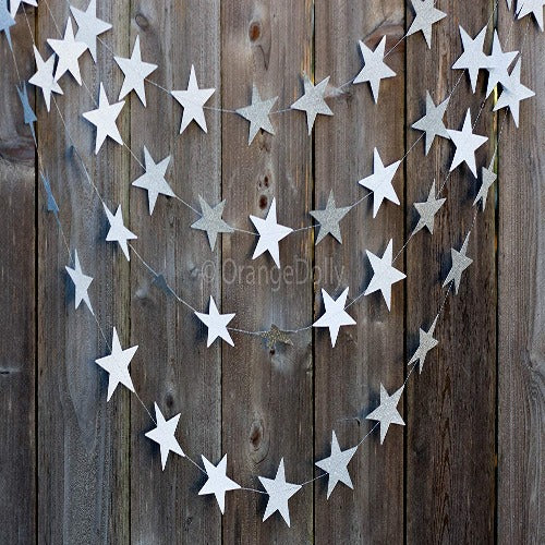 Glitter star garland for wedding and birthday party decoration