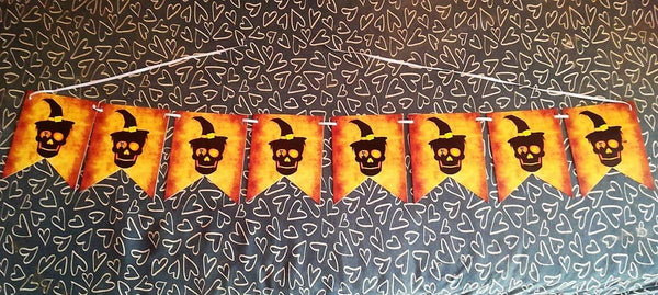 Halloween party supplies – skull banner, skeleton, haunted house decoration
