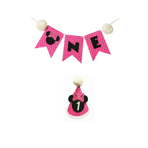 Minnie Pink First Birthday hat & ONE Banner
