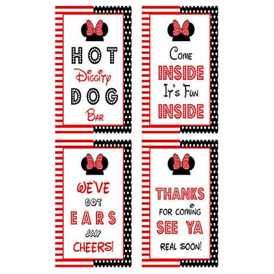 Minnie Mouse birthday party door sign printed in cardstock – hot diggity dog bar, clubhouse inspired