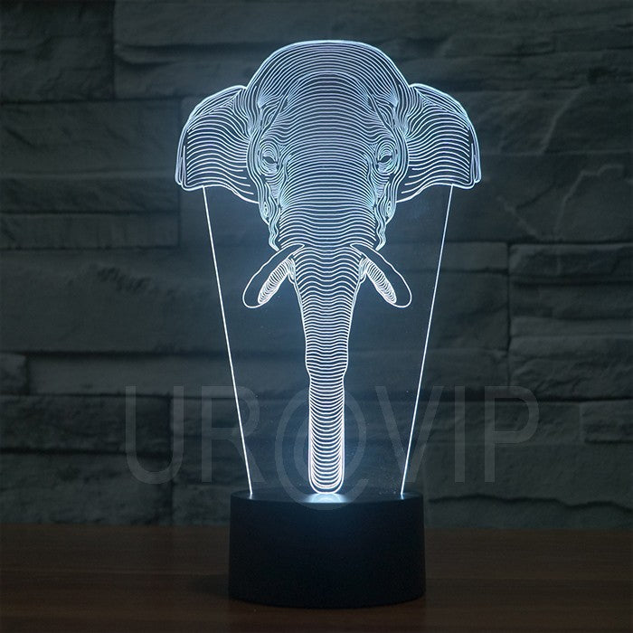 LED Elephant Face Lamp