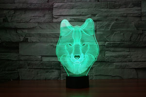 LED Wolf Face Lamp