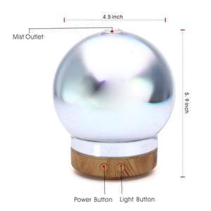 100ML Spherical Cool Mist Humidifier Color Changing 3D Glass Aromatherapy Diffuser