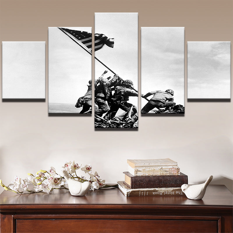 American Soldiers Planting Flag Five Piece Canvas