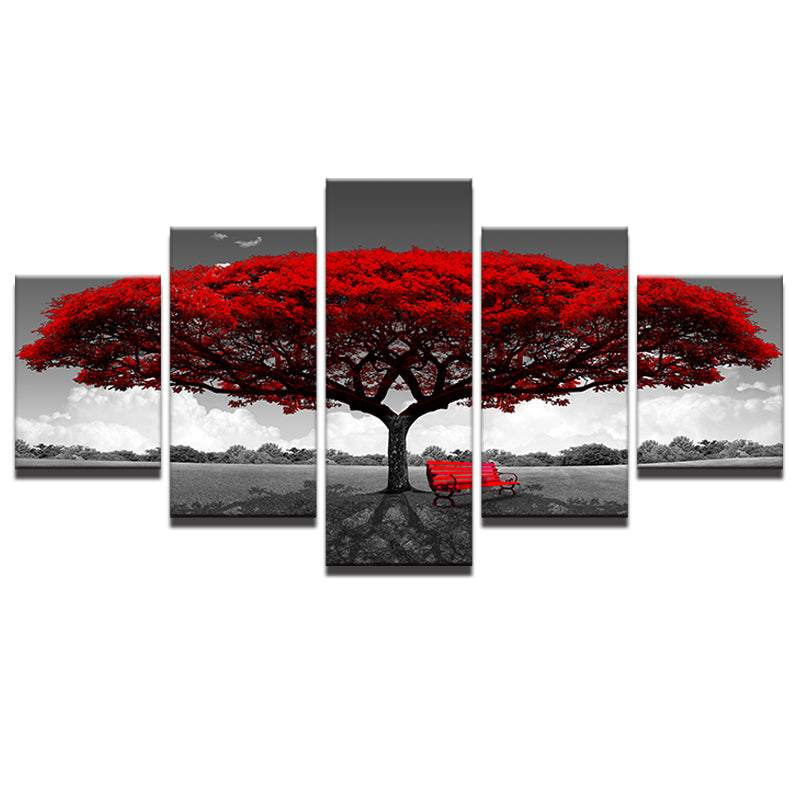 Red Tree Five Piece Canvas
