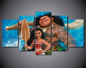 Hawaiian Surfers Cartoon Five Piece Canvas