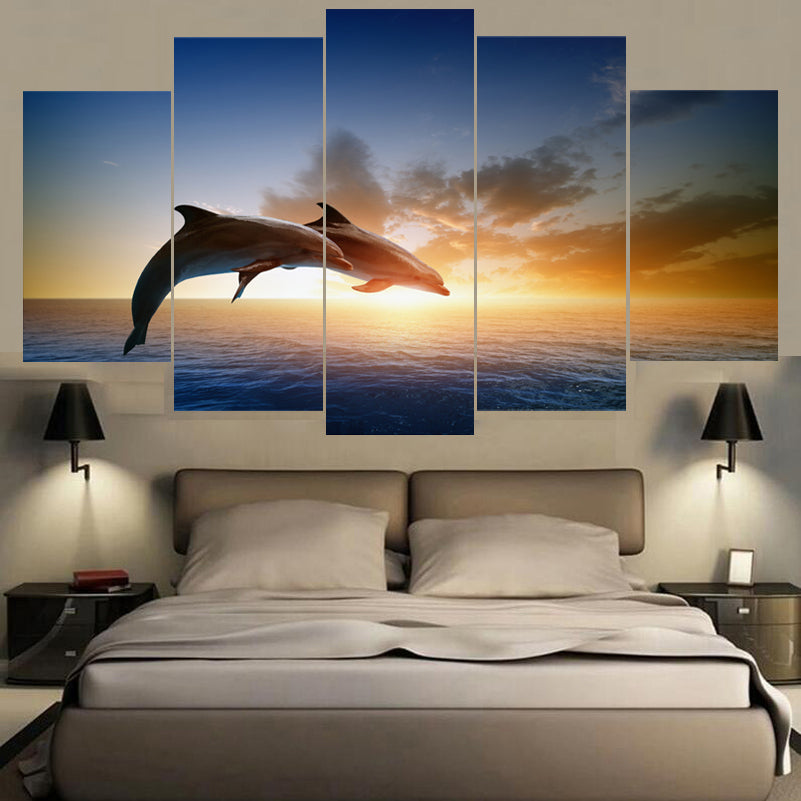 Dolphins Jumping In Sun Light Five Piece Canvas