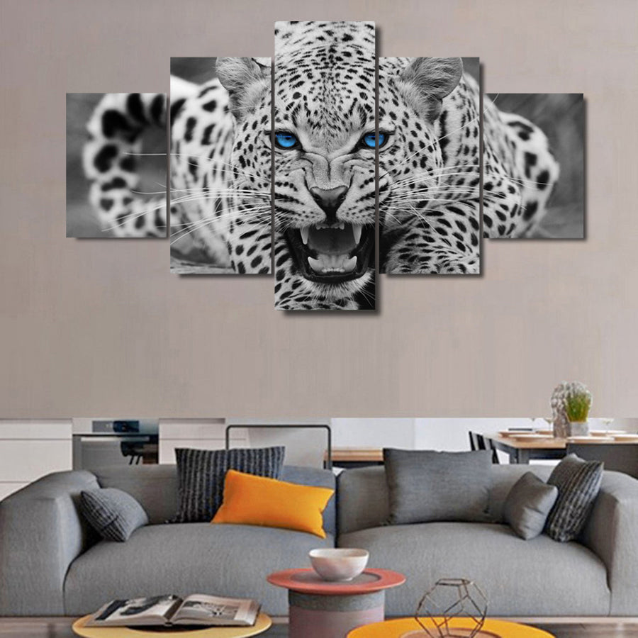 Black & White Blue eyed Tiger Five Piece Canvas